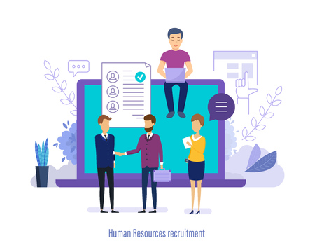 Human resource recruitment. Conduct an interview with candidate, head hunting, human resources management, personnel department. Search staff, selection, study resume, teamwork. Vector illustration.