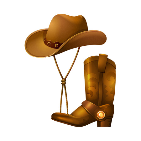 Cowboy accessories in form of a hat and leather boots. Vetores