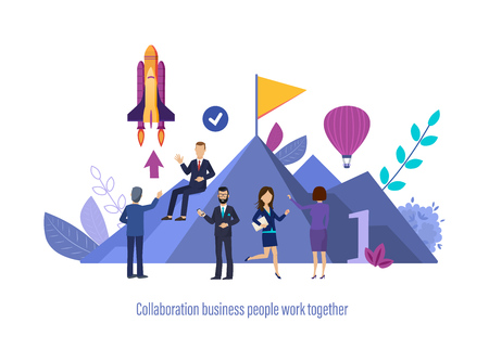 Collaboration business people work together. Team collaboration, collective business partnership, effective planning, discussion of projects and issues together with colleagues. Vector illustration. Banco de Imagens
