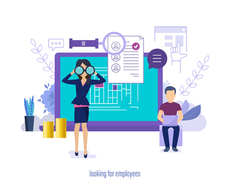 Looking for employees. Job search, recruitment, head hunting, selection through social networks, resumes, interviewing candidates for vacancy, teamwork to finding. Vector illustration.
