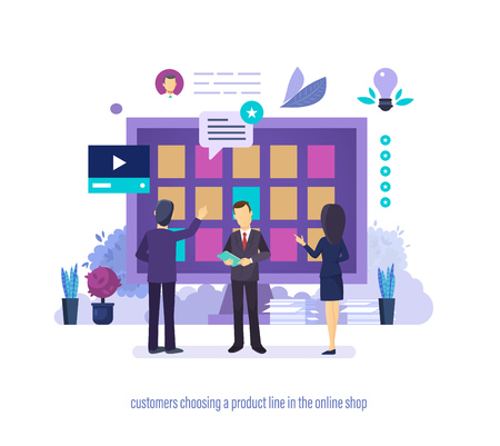 Customers choosing product line in online shop with different characteristics. Customers shoping in distance store high-quality goods. Successful sale, effectiveness of store. Vector illustration. Ilustrace