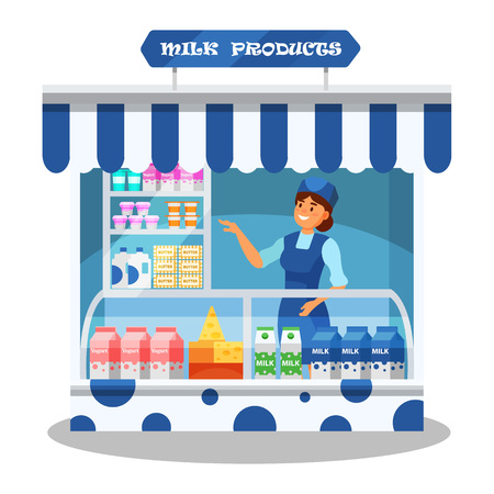 Woman character, seller behind counter with various fresh dairy products.