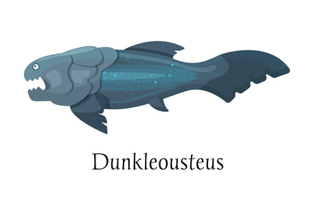 Ancient prehistoric animal dinosaur. Big wild water predatory animal of the prehistoric Mesozoic era. Aqua water dinosaur Dunkleosteus fish. Vector illustration in cartoon style.