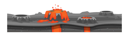 Environnement de jeu, paysage, environnement. Texture du sol, terre brûlée, avec geysers, lave, surface de la terre pour le jeu ui, interface ux. Plate-forme de jeu 2D Illustration vectorielle