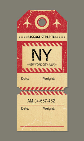 Vintage luggage tag, retro travel label, airline baggage tags. Check, baggage ticket for passengers at airport. Bus, train, airline flight trip. New york city, country label. Vector illustration.