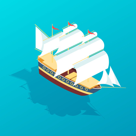 Beautiful sailboat frigate for traveling, large passenger sea ship for transporting people and goods. Travel, trip, vacation, journey, cargo delivery, warship naval ship. Isometric vector. Illustration