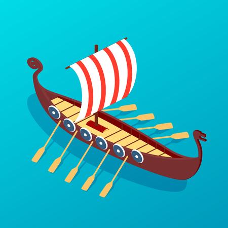 Vela antica nave in legno con remi. Trasporto marittimo retrò, un antico mezzo di trasporto sull'acqua. Nave da carico e passeggeri di navigazione, galeone, viaggi in mare per navi da guerra militari. vettore isometrico.