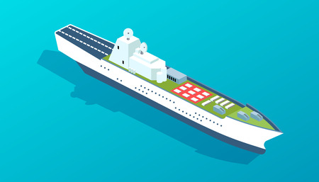 Military warship for transporting people and goods, with military training ground, landing strip for aircraft and military equipment. Sea boat, large ship with radars. Isometric vector. Illustration