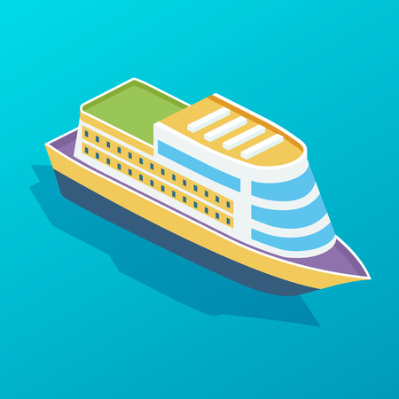 Passenger ship, multi-tiered tourist cruise liner. Sea boat, passenger cruise ship, sea transport. Transportation of people for travel, trip, vacation, journey. Isometric vector.