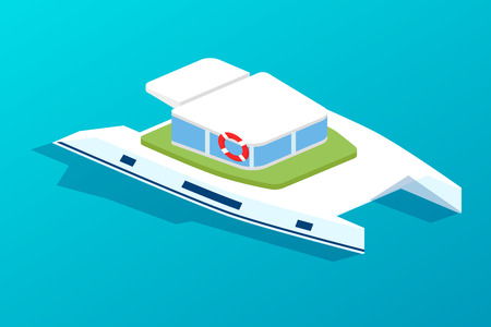 Motor boat, ship with passenger cabin. Water type of transport, boat for travel, recreation, transportation of people, holidays, delivery of small cargo. Isometric vector.