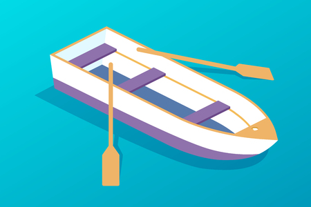 White wooden boat with oars. Water transport, fishing boat, travel and hobbies. Transport for entertainment, attractions, river and sea holidays on a trip. Isometric vector. Illustration