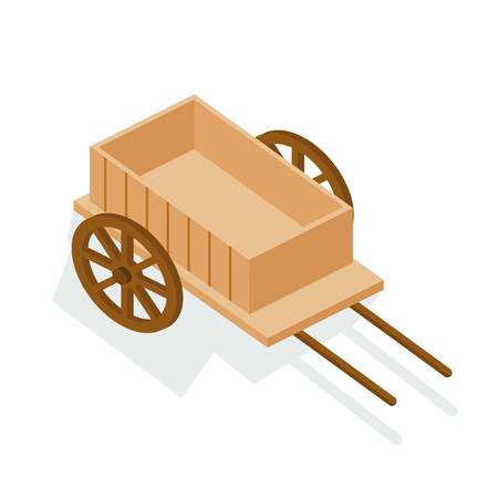 Old wooden cart, farm van, empty trailer. Wooden cart for transportation of products, materials, transportation of people. Isometric vector.