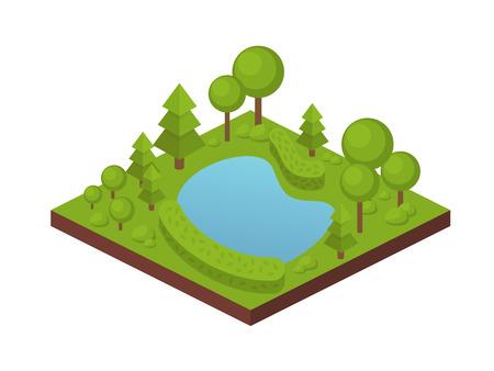 Terreno de cultivo de jardín con árboles, plantas, plantación en forma de arbustos, estanque privado con agua. Granja ecológica, paisaje rural, agricultura jardinería. Finca rústica, casa de veraneo. Vector isométrico. Ilustración de vector