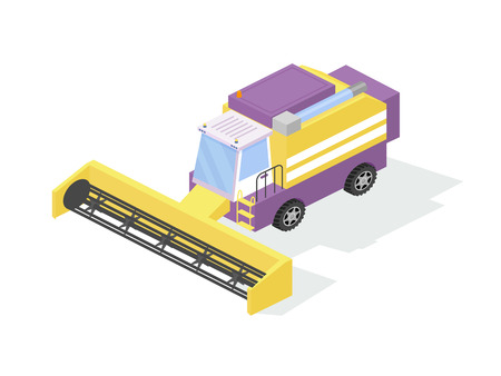 Agricultural industrial machine, farm combine, harvester for grain harvesting. Commercial agricultural farm combine tractor, for plowing, earthmoving, field work on harvest, grain. Isometric vector.