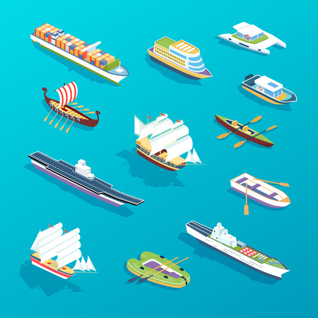 Set of ships: passenger sea ships, cargo boats, ferries, vessel, tourist cruise liner, military warship, cargo ships. Water transport for travel, trip, vacation transportation Isometric vector Иллюстрация