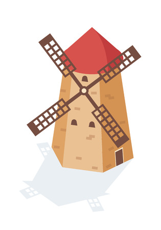 Rural landscape windmill in form of a tower with sails. Agricultural farm building with rotating sails. Exterior of an industrial old farm building on village. Isometric vector.