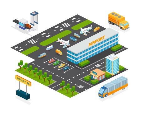 Set of objects airport. Airport building terminal, hotel, cafe, parking for cars, checkpoint, aircraft on runway, technical transport in territory. Isometric vector, city map constructor elements.