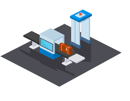 Checkpoint for checking passengers at airport on road, baggage test tape with X-ray scanner, to guarantee safety contents of the baggage when traveling by plane. Isometric vector. Illustration