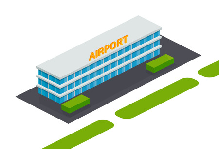 Exterior of facade, architectural building airport with aerodrome, terminal, surrounding area, trees, landscape. Building of multi-storey city airport, for travel, tourism, air trip. Isometric vector