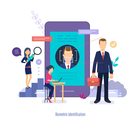 Biometric identification. Face people scanner. Face recognition function, user authorization.