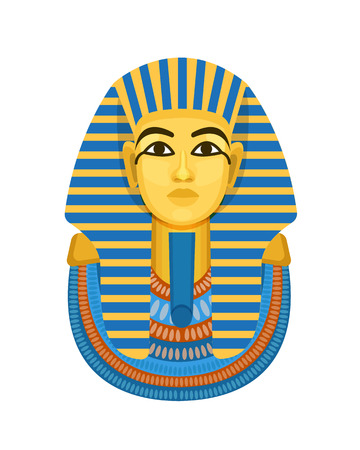 Golden funerary mask, bust of pharaoh of ancient Egypt, Tutankhamen. Illustration