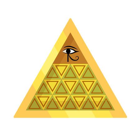 Ancient Egyptian pyramid with symbol falcon eye of Horus.