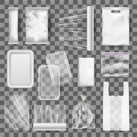 Set of realistic mock up of empty plastic food containers, packaging for food, film for food, gift, bag package. Template, 3d layout, mockup, empty plastic boxes. Vector transparent.