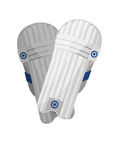 Sport witte speel- en trainingskniebeschermers voor cricket. Element van beschermende uitrusting bij het spelen van cricket. Kniebeschermers, sportuitrusting, lacrosse-attribuut. Vectorillustratie geïsoleerd.