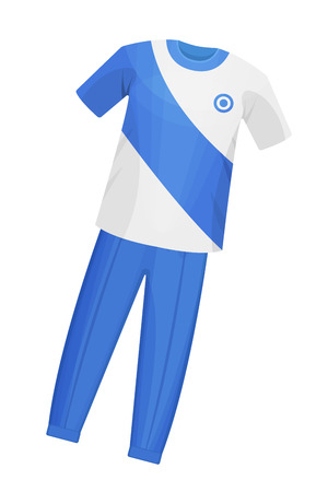 Sports playing and training clothes for cricket, classes in the gym during training. Sports uniform t-shirt and pants, for cricket, a quick team game. Vector illustration isolated.