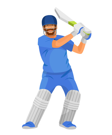 Professional man cricketer character, in sports form with wooden stick in hands, with face and foot protection, plays in team game. Cricket player character equipped. Illustration in cartoon style.