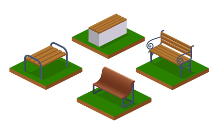 Collection 3d benches, park seats for outdoor recreation. Wooden bench in walking park, with and without backrest. City constructor, map element, with grass, earth, landscape. Isometric vector. Ilustração