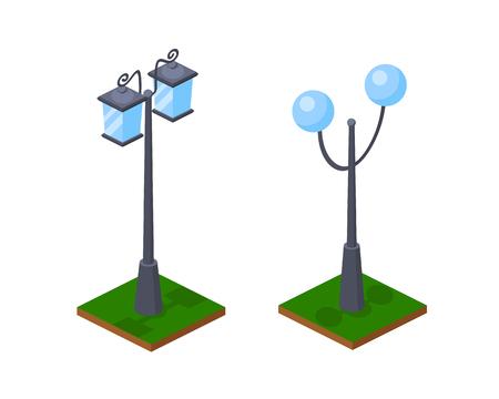 Miejskie jasne lampy uliczne 3D świecące wzdłuż drogi, miejsc parkowych i miejsc spacerowych. Płonące latarnie, oświetlenie uliczne, element mapy z trawą, ziemią i krajobrazem. Izometryczny wektor, konstruktor miasta.