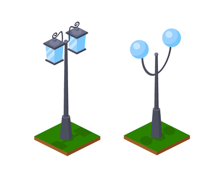 Urban bright 3D street lamps shining along road, park seats and walking places. Burning lanterns, street lighting, element of map with grass, land and landscape. Isometric vector, city constructor.