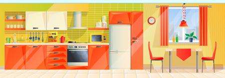 Interior cocina moderna, panorama, interior con electrodomésticos, muebles, herrajes.