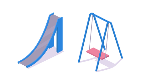 Modern children's 3d swings and an iron slide on the kids playground. Recreation and leisure, recreation amusement park elements, with a gaming complex. Isometric vector, city constructor.