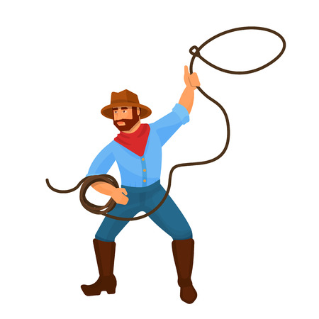 Character cowboy sheriff man from the western. Cowboy wildwest in hat, boots and clothes from the wild west. Character with guns, revolver and lasso in hands. Vector cartoon. Vektorové ilustrace