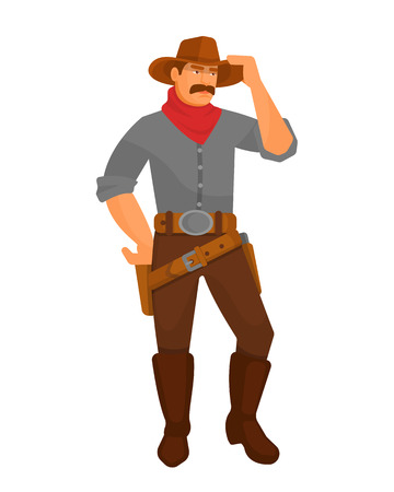 Character cowboy sheriff men from the western. Cowboy wildwest in hat, boots and clothes from the wild west. Character with guns, pistols, corrects headdress hat. Vector cartoon. Stok Fotoğraf - 126352190