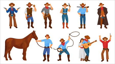 Set of character cowboy sheriff men and woman from the western. Cowboy wildwest in hat, boots and clothes from wild west. Character with revolvers, lasso in hands, man harness horse. Vector cartoon. Vetores