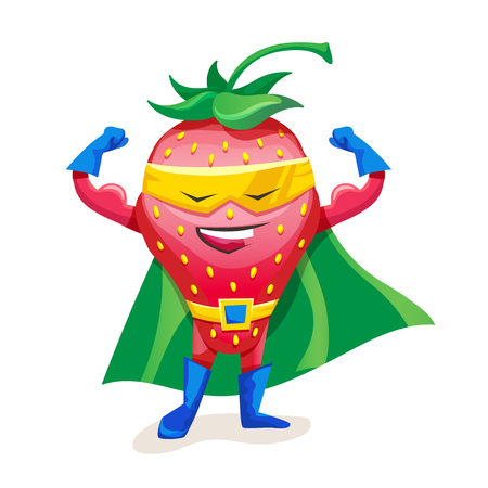 Cute strawberry in cloak of superhero and mask, showing strength. 일러스트
