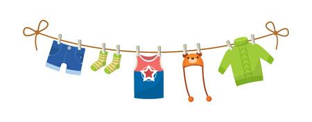 Ensemble de vêtements de bébé pour les enfants. Vêtements pour garçon nouveau-né. Vecteurs