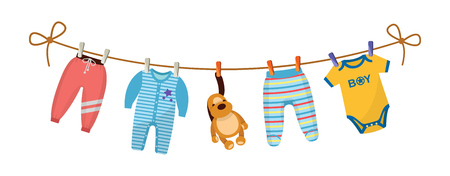 Kids clothes on clothesline. Drying children's clothes and accessories after washing on a rope. Baby clothes for newborn boy infant. Pants, romper, body, kid pajamas, plush dog. Vector cartoon. 일러스트