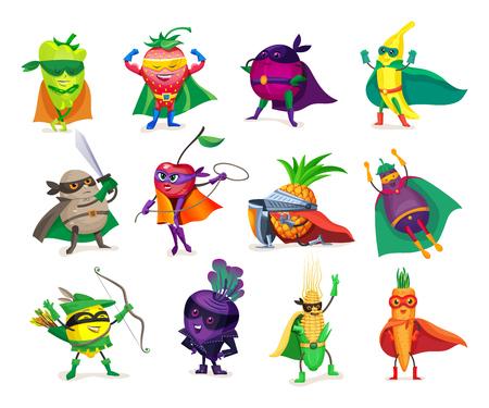 Personajes de dibujos animados divertidos verduras y frutas en trajes de superhéroe