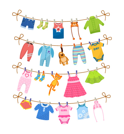 Set of baby clothes for children. Drying children's clothes after washing on a rope. Shorts, socks, baby t-shirt, hats, sweaters, pants, sliders, toys, body, dress, skirts, blouse Vector cartoon
