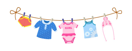 Kids clothes on clothesline. Drying children's clothes and accessories after washing on a rope. Baby clothes for newborn girl infant. Shorts, blouse, body, kid shirt, knitted hat. Vector cartoon. Vetores