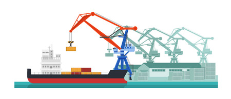 Cargo ship, water transport. Services for transportation, logistics services, cargo delivery. Crane loading container cargo ship products, for further transportation. Vector illustration. Illustration