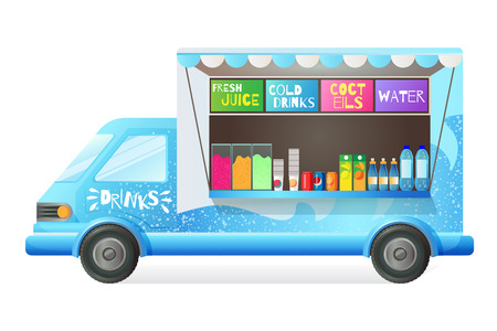 Street van with street food, shop truck counter on wheels, stall, sale of fresh juice, cold drinks, cocktail, water. Transportation, canopy, on wheels, with menu and tasty drinks. Vector illustration. Ilustração