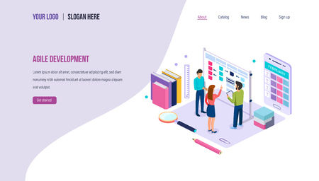 Agile development. Teamwork on project using agile technology. Planning of business processes, strategic planning, project management, scrum task board. Landing page template. Isometric vector.