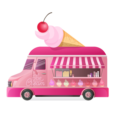 Street van with street food, shop truck cowith types of cool ice cream unter on wheels, counter with sweet cotton dessert. Canopy, on wheels, with ice cream menu and tasty eating. Vector illustration.