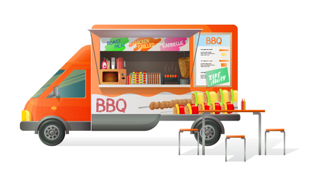 Street van fast food, shop truck with stall, counter with pasta, grill BBQ barbecue. Transportation barbeque truck van with a street food menu with barbecue and tasty eating. Vector illustration. Vektoros illusztráció
