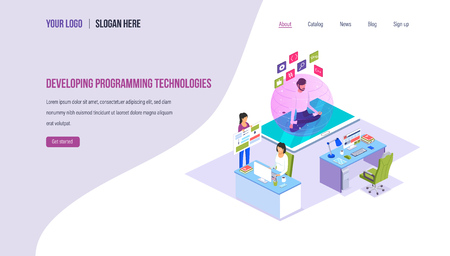 Developing programming technologies. Technology process of digital software development on programming languages, data processing, business solutions. Landing page template. Isometric vector. 向量圖像